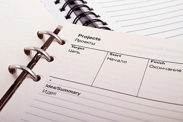 plánovací zápisník